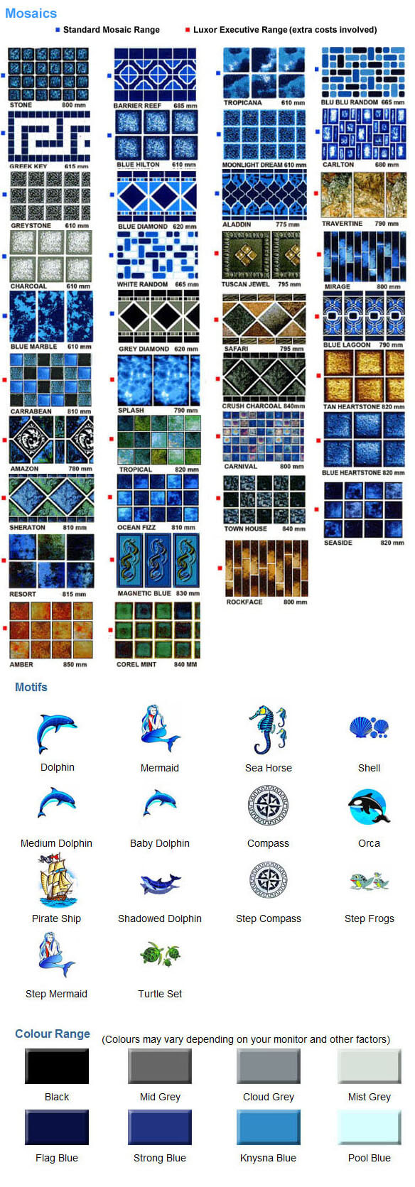 Swimming Pool Mosaics, Motifs and Colours