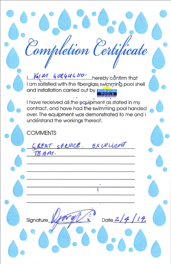Testimonial Completion Certificate